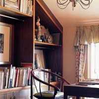 书房书桌书柜实木置物架装修效果图