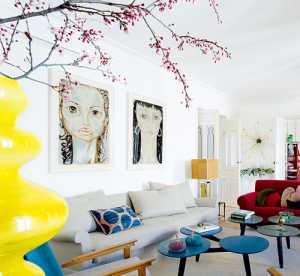 三室一厅现代简约圣诞多彩客厅