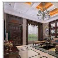 美式风格三居室富裕型餐厅过道窗帘效果图