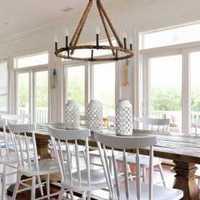 现代别墅餐厅棕色隔断装修效果图