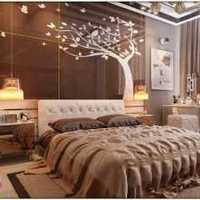 头柜卧室窗帘三居装修效果图