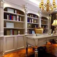 榉木家具书房书架书桌装修效果图