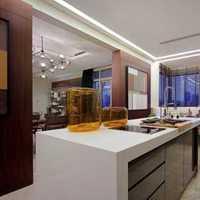 欧式黑白色开放式厨房装修效果图