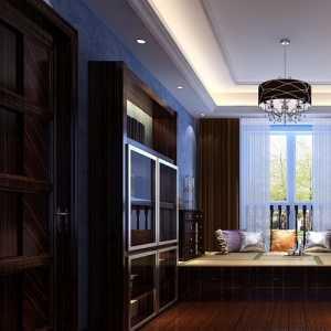 美式客廳窗簾電視柜案例效果圖