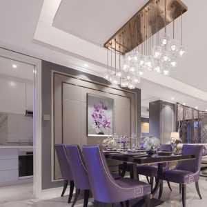 简欧跃层大户型餐厅吊灯装修效果图