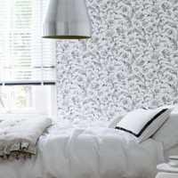 卧室背景墙简约单人壁纸装修效果图