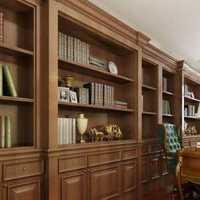 现代别墅起居室书房一体式装修效果图