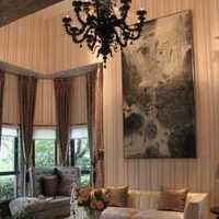 古朴原木色起居室简约别墅装修效果图