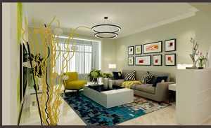 现代客厅与茶室一体装修效果图