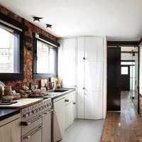 现代一字型开放式厨房装修效果图
