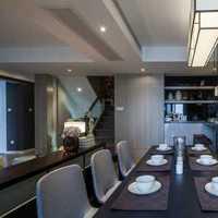 餐厅吊灯实木餐桌盆栽美式装修效果图