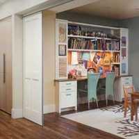 别墅红咖色木质家具休息室装修效果图