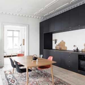 黑白厨房北欧背景墙餐厅