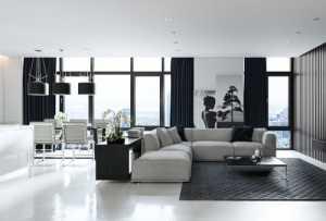 30个黑白配色的现代客厅设计