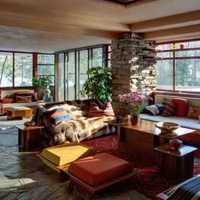 原木色窗帘沙发飘窗装修效果图