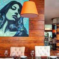 餐厅背景墙餐具餐厅壁纸装修效果图