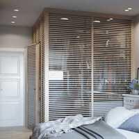 美式卧室落地窗窗帘装修效果图