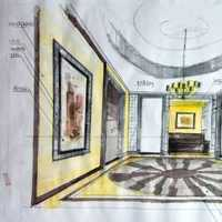 欧式别墅长方形餐桌库装修效果图