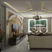 客厅大户型电视背景墙吊顶装修效果图
