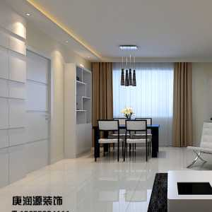 白色系时尚大气客厅与餐厅