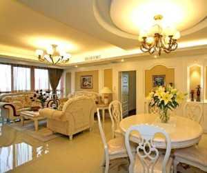 暖色調時尚溫馨的歐式客廳與餐廳
